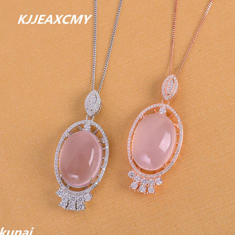 Fine jewelry Female color jewelry 925 silver inlay Natural Rose Quartz Pendant simple wholesale