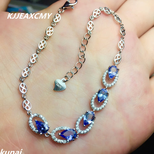 KJJEAXCMY Fine jewelry Multicolored jewelry 925 silver inlay natural Tanzanite Bracelet Adjustable drop a female