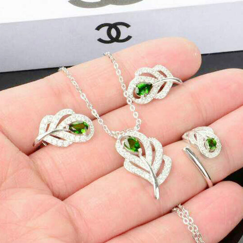 KJJEAXCMY Fine jewelry, Multicolored jewelry natural diopside alive 925 silver jewelry sets boutique fashion female models