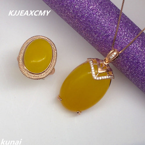 KJJEAXCMY Fine jewelry, Natural Topaz pith set jewelry set wholesale 925 silver sterling silver jewelry female