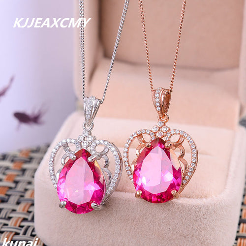 KJJEAXCMY Fine jewelry color jewelry 925 silver powder natural Topaz Pendant aesthetic generous wholesale female