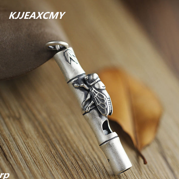 Silver jewelry boutique Zen handmade sterling silver jewelry pendant pendant 999 bamboo whistle