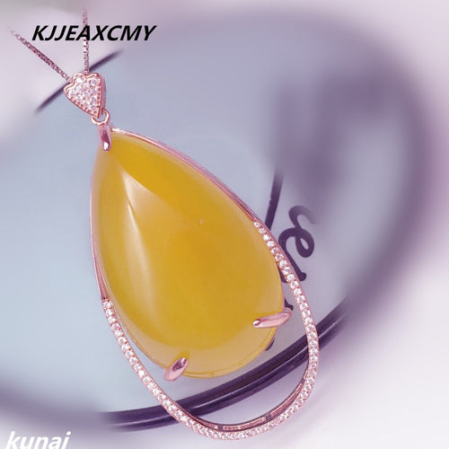 KJJEAXCMY boutique jewelry,925 silver inlay large Drop Pendant Korean Korean yellow crystal necklace female models