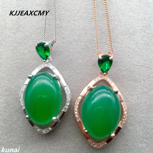 KJJEAXCMY boutique jewelry,925 silver inlay natural green chalcedony wholesale style simple and elegant