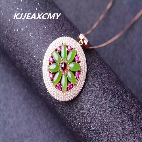 KJJEAXCMY boutique jewelry,925 sterling silver inlaid with natural Russian Jasper female pendants, big new specials