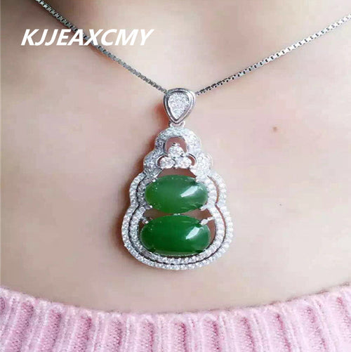 KJJEAXCMY boutique jewelry,925 sterling silver inlaid with natural Xinjiang Hetian jade pendant, gourd type jade ornaments femal