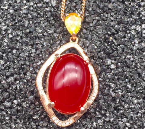 KJJEAXCMY boutique jewelry,A multicolored 925 silver female with red chalcedony China red pendant simple wholesale