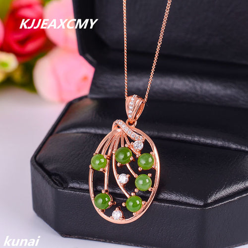 KJJEAXCMY boutique jewelry Colorful jewelry 925 silver inlaid natural Jasper Pendant, simple and generous wholesale