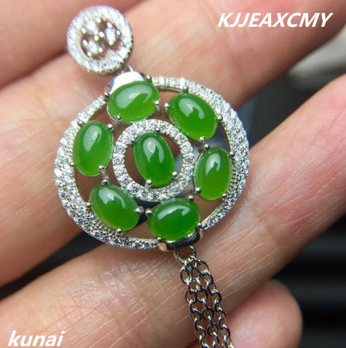 KJJEAXCMY boutique jewelry Colorful jewelry, 925 silver inlaid natural Jasper, female models, pendants, round tassels, necklace