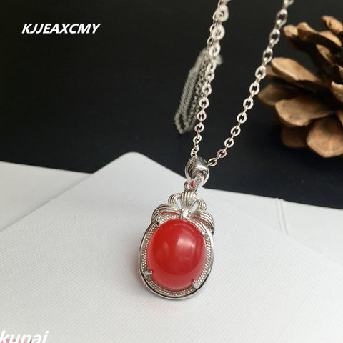 KJJEAXCMY boutique jewelry,Colorful jewelry 925 silver inlaid natural South Red pendants, simple generous wholesale women