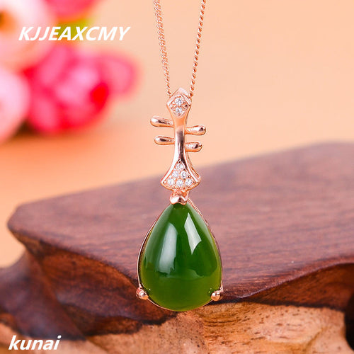 KJJEAXCMY boutique jewelry  Colorful jewelry 925 silver inlaid natural female models, jade pendant, simple and generous wholesal