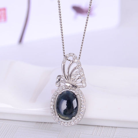 KJJEAXCMY boutique jewelry Colorful jewelry 925 silver inlaid natural sapphire pendants, simple generous wholesale women