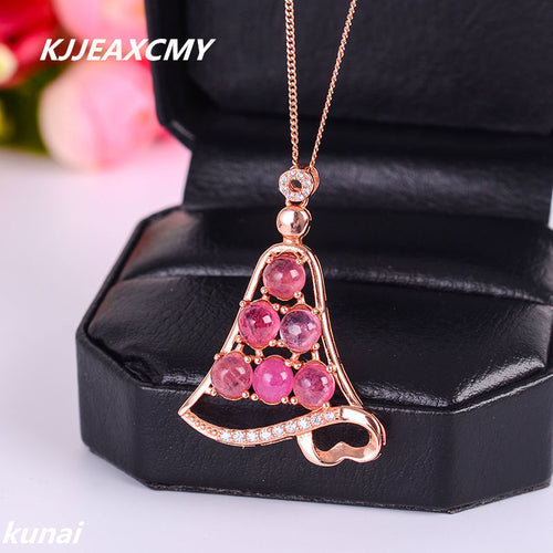 KJJEAXCMY boutique jewelry Colorful jewelry, 925 silver inlaid natural tourmaline, female pendants, simple and generous wholesal