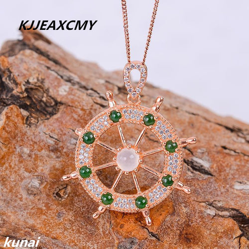 KJJEAXCMY boutique jewelry Direct wholesale jewelry, jewelry, women's jewelry, 925 silver inlaid natural jade pendant