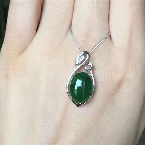 KJJEAXCMY boutique jewelry,Female Jasper Pendant natural Hetian jade S925 sterling silver jewelry inlaid spinach Green Necklace
