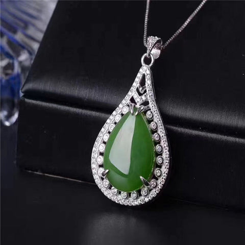 KJJEAXCMY boutique jewelry,Hetian jade necklace, 925 silver ornaments and Tian Biyu pendant ladies Sterling Silver Pendant Jewel