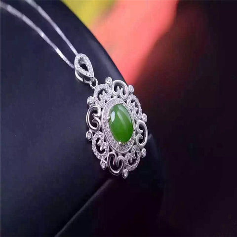KJJEAXCMY boutique jewelry,Jade pendant with 925 silver necklace, natural spinach green and Hetian jade pendant