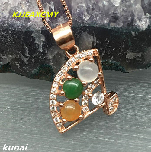KJJEAXCMY boutique jewelry Jewelry 925 silver inlay natural jade female models pendants, simple and generous wholesale