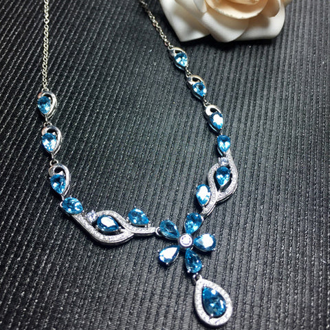 KJJEAXCMY boutique jewelry,Ladies Necklace Jewelry 925 silver inlay Natural Blue Topaz Necklace