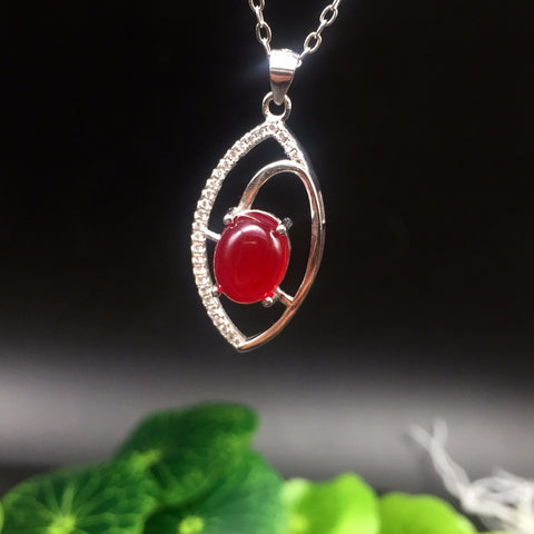 KJJEAXCMY boutique jewelry,Multicolored jewelry 925 silver inlay red chalcedony pendant and a simple wholesale on behalf of wome