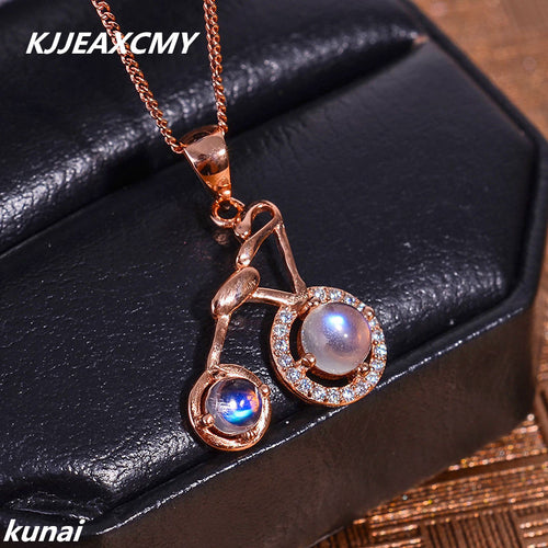 KJJEAXCMY boutique jewelry Multicolored jewelry 9255 silver inlay natural blue moonlight shinv bicycle pendants wholesale