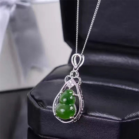 KJJEAXCMY boutique jewelry,Natural and Tian Biyu Gemstone Pendant, 925 silver inlay, gourd, ladies