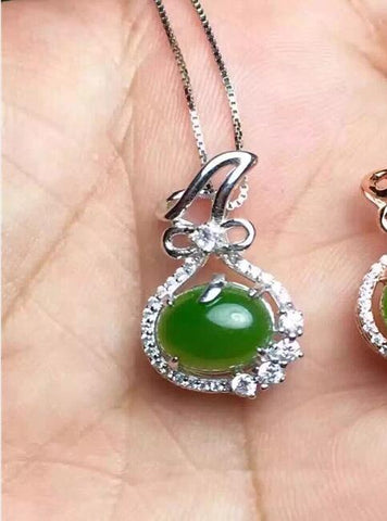 KJJEAXCMY boutique jewelry,Natural and Tian Biyu gemstone female Pendant with 925 silver inlaid Necklace ornaments