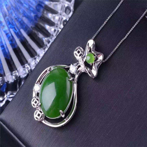 KJJEAXCMY boutique jewelry,Natural jade pendant S925 pure silver silver female customized wholesale