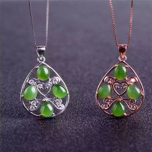 KJJEAXCMY boutique jewelry,Natural jade pendant set, women's jewelry wholesale, 925 Sterling Silver