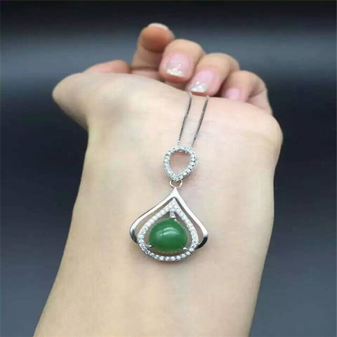 KJJEAXCMY boutique jewelry,Natural jade pendant set, women's jewelry wholesale, S925 Sterling Silver