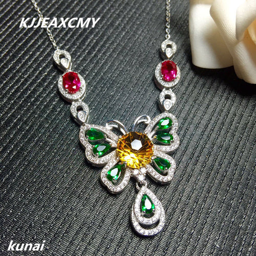 KJJEAXCMY boutique jewelry Processing custom crystal necklace 925 silver yellow crystal necklace exquisite Necklace
