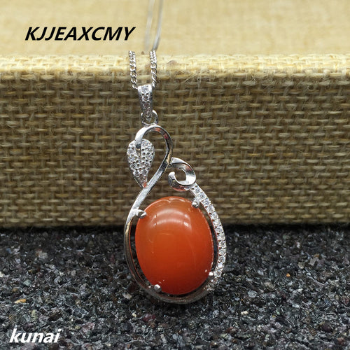 KJJEAXCMY boutique jewelry Wholesale processing of colorful jewelry, 925 silver inlaid natural South Red pendant, women's pendan
