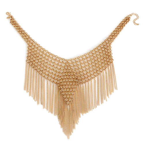 KOMi Elegant Big Tassel Choker Women Gold Color Hyperbole Alloy Maxi Necklace Ethnic Statement Necklaces Fashion Jewelry MI-072