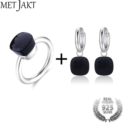 MetJakt Classic Natural  Agate Earring Ring Jewelry Sets Solid 925 Sterling Silver Rings for Women's Wedding Party Jewelry