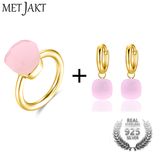 MetJakt Classic Natural Agate/Topaz Ring and Earrings Jewelry Sets Solid 925 Sterling Silver with Gold Color for Women Jewelry