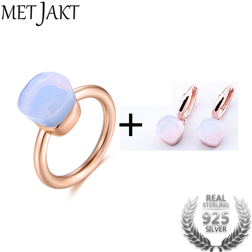 Moonstone Earring Ring Jewelry Sets Solid 925 Sterling Silver Rings with Rose Gold Plated for Women's Jewelry