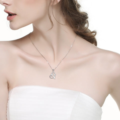 Mother Baby Heart Charm Pendant 925 Sterling Silver Family Love Cubic Chain Statement Necklace Kolye Mother's Day Gift