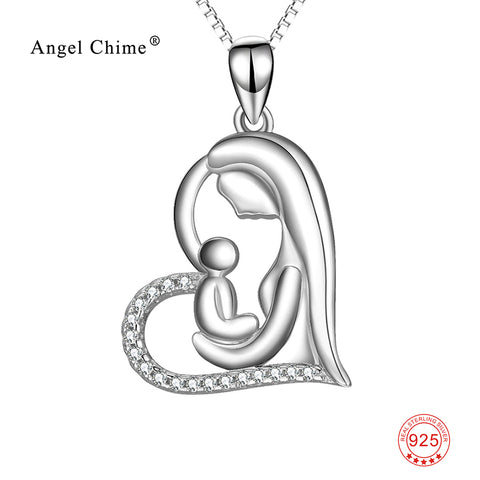 Mother & Child Love Heart Pendant 925 Sterling Silver Statement Charm Choker Necklaces Romantic Jewelry Mother's Day Kolye Gift