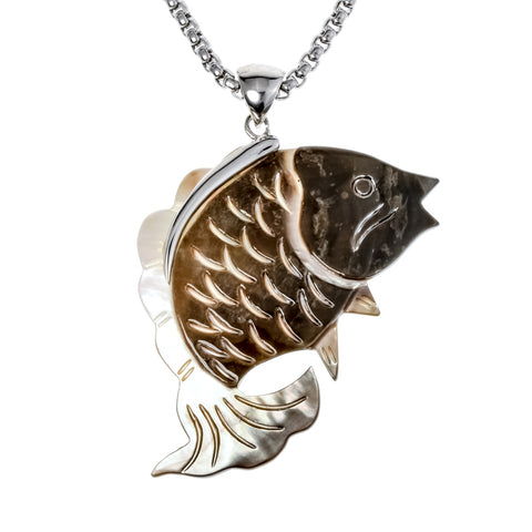 Natural sea shell fish necklace pendant W stainless steel chain summer jewelry birthday gifts for women her wife girlfriend