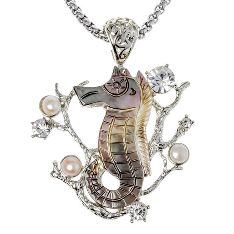 Natural shell seahorse necklace pendant W stainless steel chain jewelry birthday gifts for women her wife girlfriend mom I038
