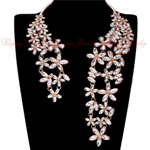New Fashion Jewelry Cluster Crystal Pendant Choker Chunky Statement Bib Necklace
