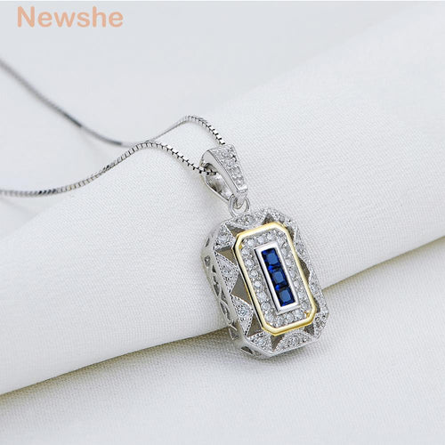 Newshe Gold & White Color Plated Blue Zirconia 925 Sterling Silver Pendant Come with 18 Inches Chain Gift Jewelry for Women