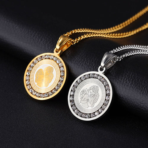 OBSEDE Couple Necklace Angel Wing Pendant With Crystal Stainless Steel Necklaces & Pendants For Women Men Silver/Gold Jewelry
