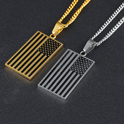 OBSEDE Fashion Men Necklace America National Flag Pendants Stainless Steel Necklaces For Men Jewelry Punk Necklaces Accessories