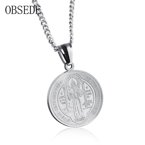 OBSEDE Vintage Couple Jewelry Women Men Necklace Round Christian Jesus Pendants Stainless Steel Necklace Gold/Silver Color
