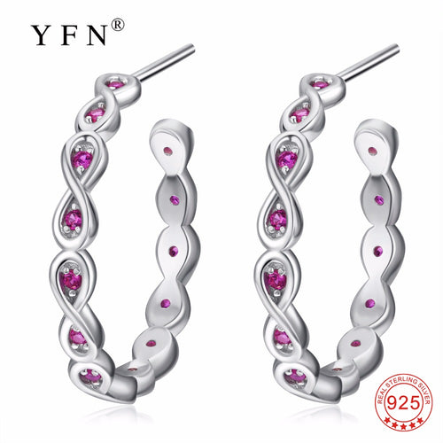 PYE0095 New YAFEINI 925 Sterling Silver Romantic Rose Red Crystal CZ Earring Sweet Smart Drop Earrings Fashion Jewelry For Women