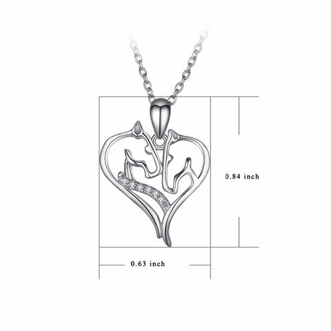 PYX0109 YFN 925 Sterling Silver Necklace Jewelry Sweet Crystal Love Heart Horse Head Pendants Necklaces Fashion Women jewelry
