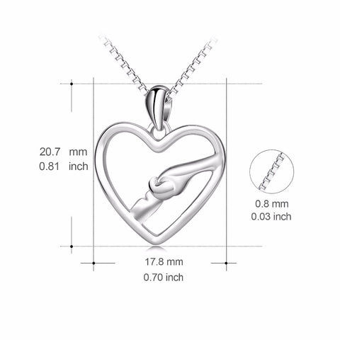 PYX0161 100% Real 925 Sterling Silver Love Heart Pendants Necklaces Hand In Hand Friendship Jewelry Necklace For Women