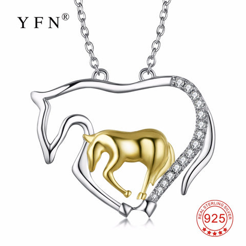 PYX0193 100% Fine 925 Sterling Silver Horse Necklace Horse Mother & Child Mother Love Pendants Necklaces Fashion Jewelry For Mom