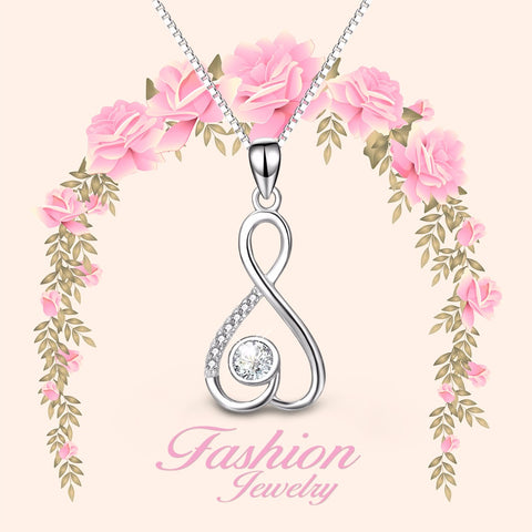 PYX0215 100% Fine 925 Sterling Silver Classic Infinity Love Pendants Necklaces Shiny Cubic Zirconia Jewelry Necklace For Women